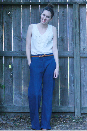 navy wide leg Self Made jeans - white Halogen shirt - brown bow Talbots belt - b