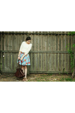 brown leather handbag thrifted bag - violet floral skirt Self Made skirt - light