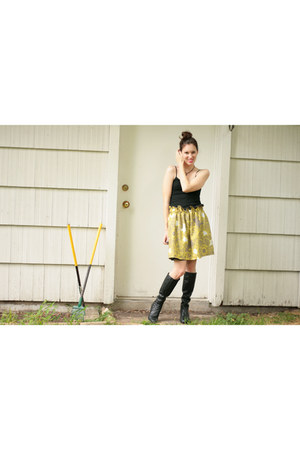 vintage boots - Self Made skirt - fitted tank top Target top