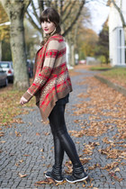 red H&M cardigan - black asos leggings - black TK Maxx sneakers
