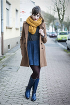 blue Melvin & Hamilton boots - brown H&M coat - yellow ernstings family scarf