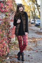 ruby red Primark leggings - black H&M sweater - dark brown H&M vest