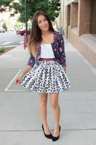 black Forever 21 skirt - hot pink materia girl cardigan - black heels
