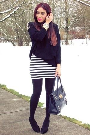 white skirt - black sweater