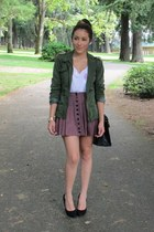 dark green material girl jacket - white t-shirt - black pumps - romwe bracelet