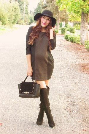 black Forever 21 boots - black romwe hat