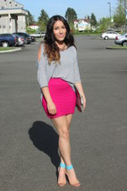 hot pink shirt - aquamarine Forever 21 heels