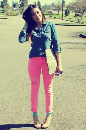blue Miley Cyrus blouse - bubble gum Guess jeans - aquamarine Forever 21 heels