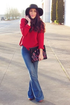 blue jeans - red sweater