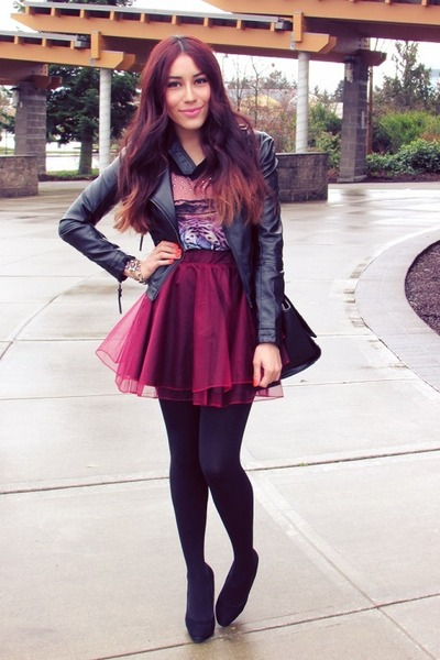 maroon Chicwish skirt - black jacket