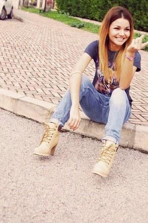 tan boots - sky blue boyfriend jeans H&M jeans