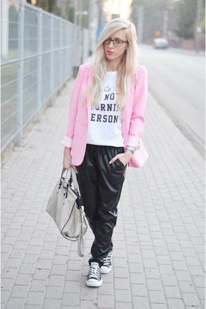 bubble pink blazer - leather joggers pants - t-shirt
