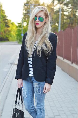 calvin klein blazer - jeans - calvin klein bag - striped blouse