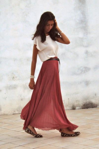 salmon asos skirt - Zara shoes - neutral Zara blouse - black Zara belt