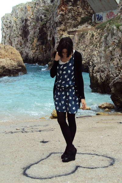 blue Zara dress - black Zara jacket - black Mango shoes - white Oysho top
