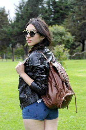black Stradivarius jacket - light brown Falabella bag - navy Forever 21 shorts