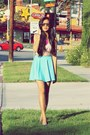 Light-blue-floral-greenlane-top-sky-blue-skater-tangerine-manila-skirt