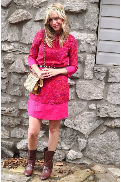alloycom boots - isaac mizrahi dress - vintage bag - tre vero belt
