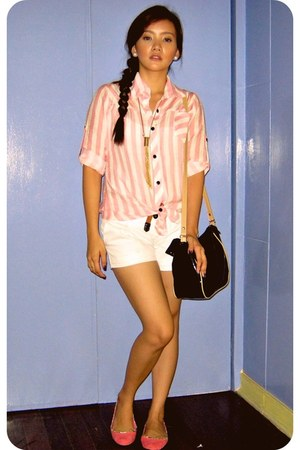 Guess blouse - Forever21 bag - RAMP shorts