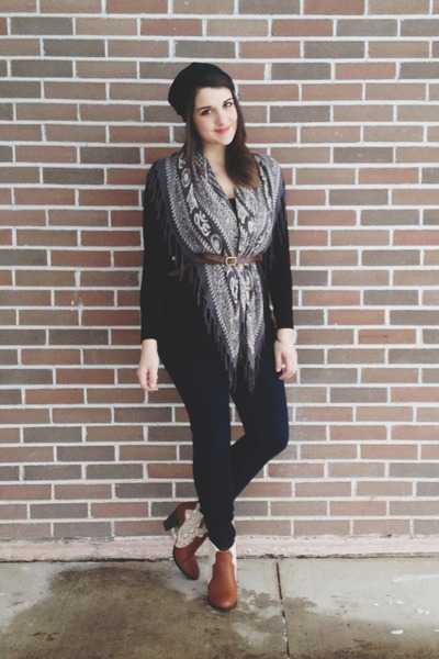 charcoal gray Costa Blanca scarf - brown modcloth boots - American Eagle jeans