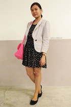 black floral H&M dress - ivory one button Grass Collection blazer