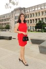 Red-philosophy-woman-dress-black-yukiko-hanai-bag-black-naturalizer-heels