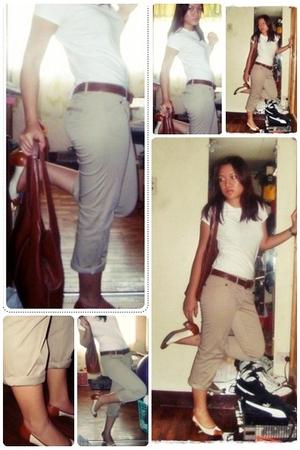 white Cherokee blouse - beige MODA Intl pants - brown hand-me-down belt - brown