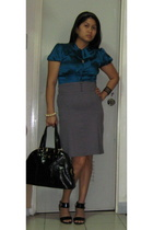 Mango blouse - Generic skirt - ysl large muse purse - Charles & Keith shoes