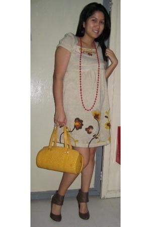 hongkong dress - Generic necklace - soufflot louisvuitton purse - Zara shoes