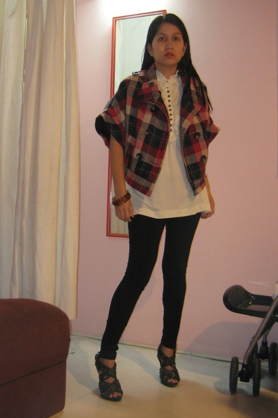 Mango blouse - sm zipper leggings - Zara studded shoes - Hk from mum jacket - SM