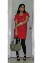 Denim and Pearls dress - Aldo necklace - Charles & Keith shoes - Gucci purse