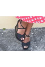 Red-wrap-detail-skirt-black-payless-wedges