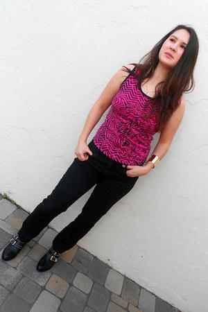 black shoemint boots - hot pink McQ for Target shirt - black Gap pants