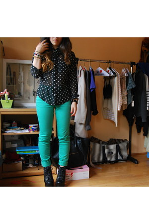 chartreuse H&M pants - black Jeffrey Campbell boots - black thrifted blouse