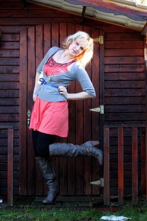 blue Primark belt - gray S Oliver boots - bubble gum Promod dress