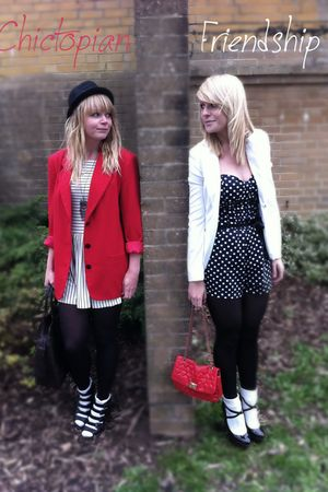 red blazer - white dress - black shoes - white cardigan - black dress - red purs