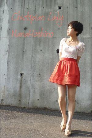 orange H&M skirt - white Zara top