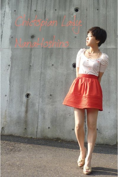 orange H&M skirt - white Zara top