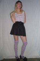 purple made by me shirt - black skirt - purple socks - black shoes - black belt