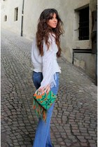 green etnic no brand bag - sky blue bootcut Diesel jeans