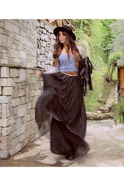 black crop Tally Weijl top - fringe Polyvore bag - black plise Zara skirt