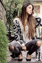 white aztec Tally Weijl blazer - black black Zara heels