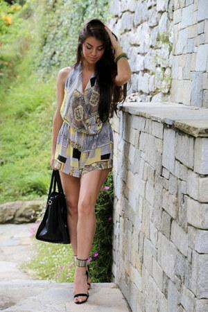 yellow silk Kimi Kouture romper - black leather Miss Selfridge bag