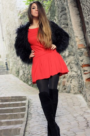 black faux fur Nasty Gal coat - red cut out Nasty Gal dress