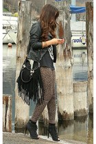 black fringe bag Polyvore bag - brown animal print H&M leggings