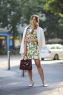 Chartreuse-dolce-gabbana-dress-white-zara-jacket-maroon-vintage-bag