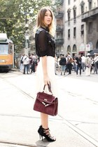brick red vintage bag - black Maria grazia severi blouse - white Zara skirt