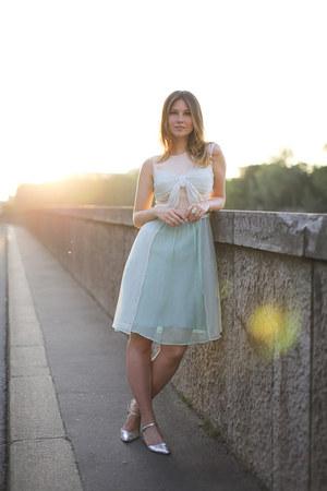 light blue Lazzari dress - chartreuse metallic asos flats