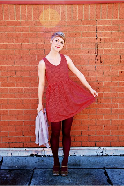 red handmade dress - maroon tights - beige crushed velvet pumps