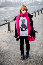 H&M scarf - Mango coat - cat dziedobry blouse